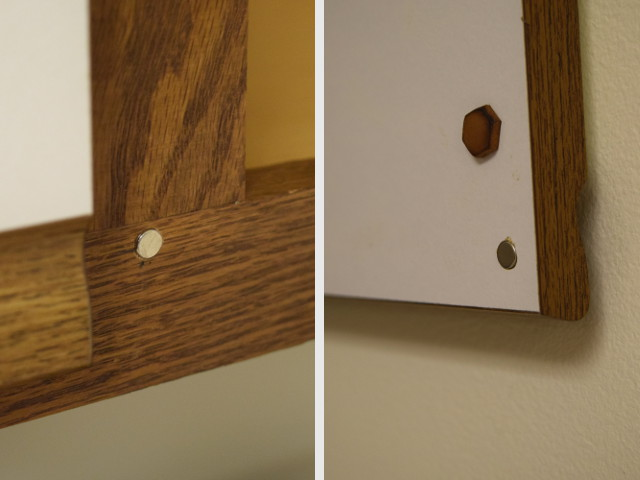 The same idea with inset magnets in a kitchen cabinet. 1/4  diameter D44 magnets are set in 1/4  diameter drilled holes. & Magnetic Cabinet Closures