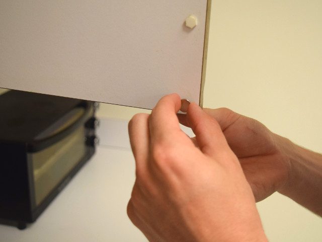 Simple Idea #1 Use Adhesive Backed Magnets & Magnetic Cabinet Closures
